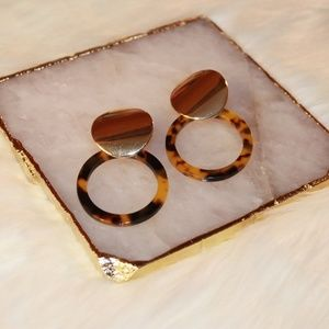 Tortoise Shell Earrings with Gold Accent